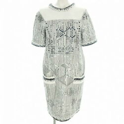 Dress Spangle White Black Blue Previously Owned Free Shipping No.6793