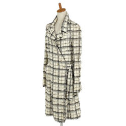 Tweed Long Coat Coco Button 05p Side Ribbon Outer Silk Rayon No.7034
