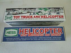 2 Hess 2001 Helicopter With Motorcycle And 2006 Cruiser Truck And Helicopter New