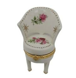 Throne/boudoir Chair Hinged Trinket/ring Box Cream With Pink Roses And Gold Trim