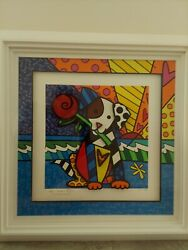 Romero Britto Lovely Dog Framed 24 X 24 Signed Giclee Canvas Authenticated