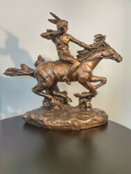 Extremely Rare Bronze/black Universal Statuary Of Chicago 1981 Indian On Horse