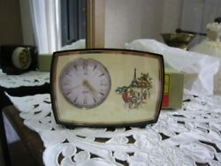 With Box Mechanical Musical Alarm Clock Made In Germany Equipped With Music Box