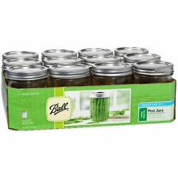 Ball Glass Mason Jars Wide Mouth With Lids And Bands 16oz- 12 Count