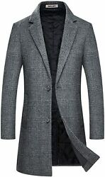 Mens Trench Coat Wool Blend Top Pea Coat Winter Long Single Breasted Classic Sty