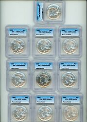 1921 Peace Silver Dollar High Relief Icg Au50/53/55 Lot Of Ten Coins
