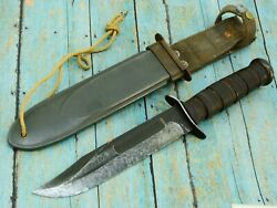 Vintage Wwii Kabar Usn Mk2 Combat Bowie Fighting Knife And Nord Scabbard Knives