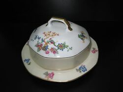 Epiag Bird Of Paradise Octagon Round Covered Butter Dish Flowers Ivory Gold