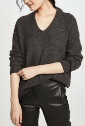 Vince 100 Cashmere V-neck Panel Back Sweater In Cold Brew Size Small. 445