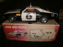 Ultra Rare Tinplate Highway Patrol Table Toys Car With Box 1960 Vintage Battery