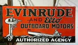 Evinrude And Elto Outboard Motors 48x24 Inches Porcelain Enamel Sign Double Side