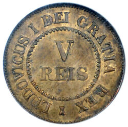 Portugal Copper Pattern 5 Reis 1863 Ngc Ms63 Luiz I Listed As Rr In Gomes Cat.