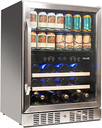 """Newair 24"""" Wine And Beverage Refrigerator Cooler, 20 Bottle And 70 Can Capacity,"""