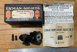Vintage Lyman 57k 30/40 Sight Receiver With Lyman Front Sight No26 New In Box