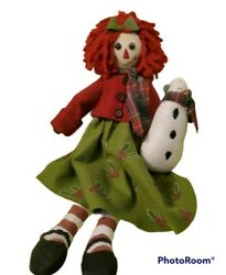 Raggedy Anne Christmas Rag Doll With Snowman And Green Dress 25 Inch Tall