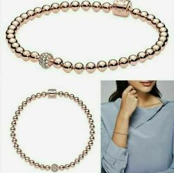 AUTHENTIC PANDORA SILVER BRACELET BEADS AND PAVE #598342CZ with Gift Bag