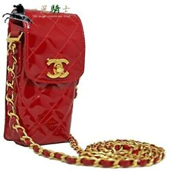 412725 Chain Pouch Bag Matelasse Patent Leather Red Shoulder No.4268