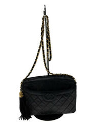 Shoulder Bag Leather Blk Plain Chain Made In Italy Previously No.4449