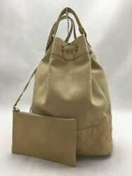 Old Drawstringcoco Mark Charm Backpack Leather Beige Bag No.4436