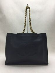 Shoulder Bag Leather Blk Coco Mark Gold Fittings Bag Previously No.4447