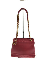 Shoulder Bag Leather Red Red Chain Quilting 0064 Bag Previously No.4451