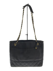 Shoulder Bag Leather Blk Matelasse Chain Previously Owned No.4448