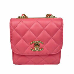 Shoulder Bag A81633 Pink Gold Fittings Women And039s Previously Owned No.5939