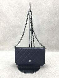 Materacse Caviar Skin Chain Wallet Leather Nvy Bag Previously No.5927