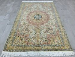 Large Antique Unique Rug 6.4x9 Fine Quality Handmade Wool Turkish Old Area Rug