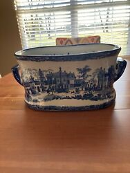 Victoria Ware Ironstone Flow Blue And White Handled Foot Tub Or Planter Cotta