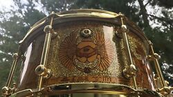 Custom Snare Drum   Brownie Drum Co. - Egyptian Motif 14x7 In Light Gold
