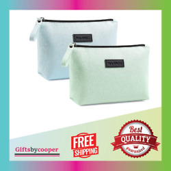 Cosmetic Bags for Women 2 Pcs Small Makeup Bag with Zipper Pu Leather Makeup NEW $15.99