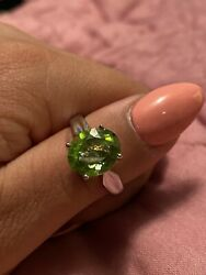 925 Sterling Silver Vintage Antique Ring Size 8 Key Lime Green Stone