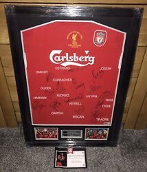 Liverpool 2005 Squad Signed Shirt W/ Jamie Carragher 23 Foundation Certificate