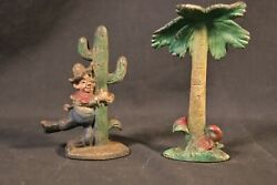 Antique Figural Heavy Cast Iron Bottle Openers Palm Tree And Drunken Cowboy