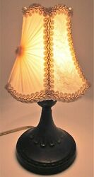 Antique Cast Iron Boudoir Table Lamp With Victorian Brocade Clip-on Fabric Shade