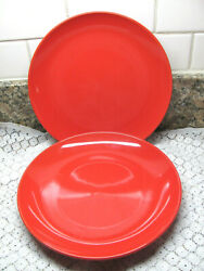 ROYAL NORFOLK CERAMIC STONEWARE DINNER PLATES * SOLID RED * 2 PC. 10quot;