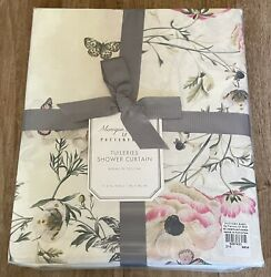 """Pottery Barn Monique Lhuillier Tuileries Organic Shower Curtain 72""""x72"""" New"""