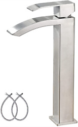Friho Waterfall Spout Tall Bathroom Faucet Brushed Nickel Vessel Sink Faucet, Si