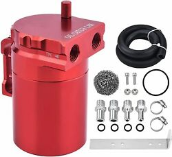Universal Oil Catch Can Reservoir Tank Kit Fuel Line Aluminum Red 300ml In Stock