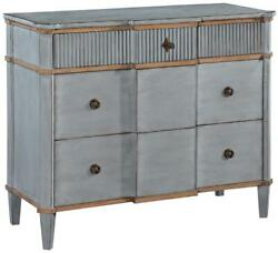 St Denis Console Chest Of Drawers Pewter Gray Wood Gilded Distressed 3 D