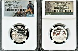 2021- S Silver 2 Pc Quarter Set Fr From 7-coin Proof Set Ngc Pf70 U.cand039