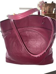 Coach Leather Large Tote Burgundy $34.00