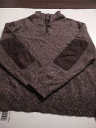 Neiman Marcus Menand039s 1/4 Zip 100 Cashmere Large Ls Sweater Suede Elbow Patches