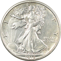 1918-s Walking Liberty Half Dollar, Uncirculated, But Cleaned