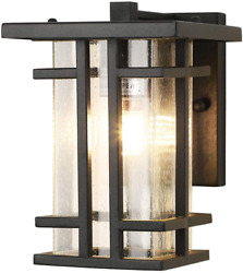Retro Outdoor Wall Light Small Outside Wall Lamp With Clear Seeded Glass Shade 1