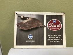 Pearl Xxx Beer Sign Tin And Chalk Canadian Goose Honker Hunting