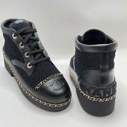 Nib Cc Ankle Boots Black 38 Eur Size Leather Tweed Shoes Gold Logo