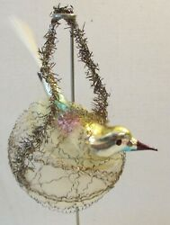 Antique German Bird Crinkled Wire Wrapped Nest Spun Glass Tail Xmas Ornament