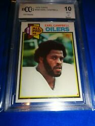 1979 Topps Football Earl Campbell Rookie 390 Bccg 10 Mint + Sharp